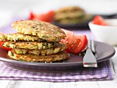 Rice and courgette fritters with herbs