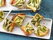 Tray bake cake with green asparagus