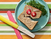 A monster sandwich with quark, cress and radish