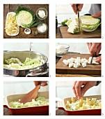 How to prepare savoy cabbage bake with potato orzo pasta