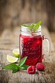 Hibiscus tea with raspberries