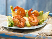Barbecue prawns with spring onions