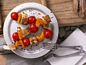 Tofu & pepper kebabs with sesame seed oil