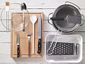 Kitchen utensils for gratinated Spätzle (soft egg noodles)