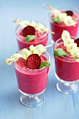 Cold beetroot soup with yoghurt, almonds and cucumber skewers