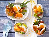 Egg salad with rocket and bacon