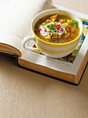 Ginger & root vegetable soup with split peas