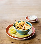 Fried calamari rings with capers and garlic mayonnaise
