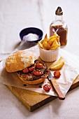 A prego roll (Portuguese steak sandwich)