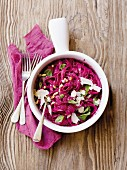Tagliatelle with beetroot pesto, Parmesan and pine nuts