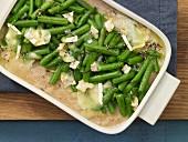 Green bean gratin with spelt semolina