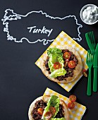 Turkish mini pizzas made of pitta bread