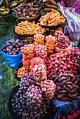 Assorted potatoes at a food market in La Paz, Bolivia, South America
