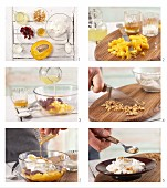 How to prepare coconut and mango quark with cranberries and peanuts