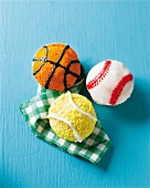 Sports cupcakes (cricket ball, tennis ball and basketball)