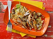 Vegetable gratin with chicken breast strips