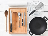Assorted cooking utensils for wok dishes