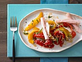 Marinated peppers with turkey breast ham