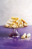 Filo pastry rolls with apricot & nut filling and honey