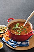 Mexican bean soup with coriander