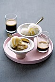 Affogato (vanilla ice cream with espresso, Italian)