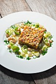 Turnip tartare with sunflower seeds, Brussels sprouts and beans