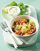 Couscous salad with roast vegetables and lemon & yoghurt dressing
