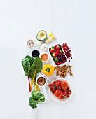 An arrangement of various super foods