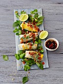 Asian rice paper rolls with duck, mango and herbs