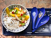 Rice with yoghurt, fresh fruit and sunflower seeds
