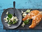Salmon steak with kohlrabi & fennel salad