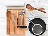 Kitchen utensils for preparing fish and salad