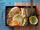 Chicken breast fillets with fennel and lemon