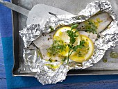 Trout parcels with herb & garlic butter