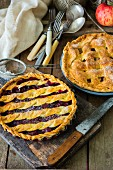 Rustic cherry and apple lattice pies