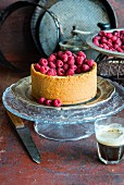 A small vanilla cheesecake with raspberries