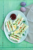 A cream cheese & pea terrine with smoked salmon and cucumber for Easter