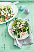 An Easter salad with surimi, quail eggs, radishes and pea mayonnaise