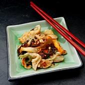 Chuka ika sansaii (Japanese squid salad with vegetables and sesame seeds)