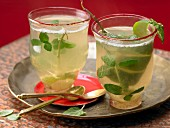 Cardamon and mint tea wth lime peel