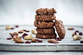 Vegan muesli biscuits with cranberries, nuts and oats