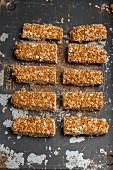 Homemade flapjacks on a baking sheet