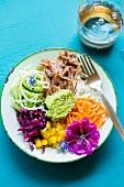 Gemischter Salatteller mit Pulled Pork und Avocadocreme
