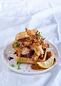 Waffles with almond-crusted chicken and barbecue mayonnaise