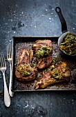Lamb chops with crispy breadcrumb and herb salsa