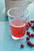 Lingonberry juice in a glass