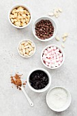 Ingredients for rocky road slices with rice crispies and dried cherries