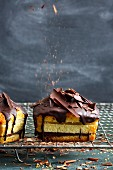 Mini layered cakes with marzipan and apricot jam