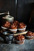 Chocolate cupcakes with buttercream and coffee