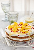 Coconut and mango cake with lime curd